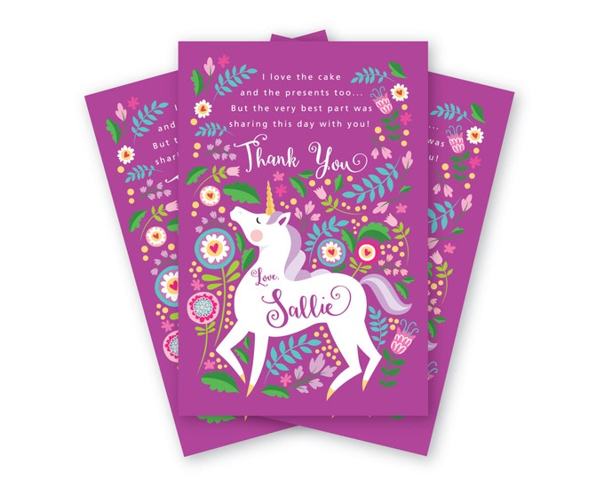 Unicorn Thank You Card, Customized Printable DIY, Girl's Unicorn Thank You