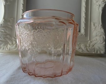 Pink Depression Glass Biscuit jar, Mayfair Open Rose