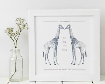 Giraffe Print; Personalised Print; Giraffe Gift; Giraffe Wall Art; Personalised Wedding Gift; Animal Print; Love Gift; PAP029