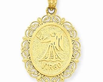 14K Solid Yellow Gold Virgo Zodiac Horoscope Oval Pendant Charm LKQC2848