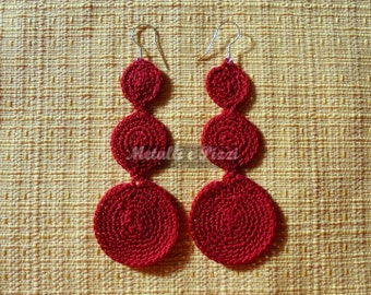 Lace earrings of Lisle red circles