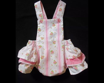 Handmade up-cycled romper made of vintage sheets