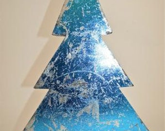 A beautiful 3D distressed blue metallic tin free-standing Christmas tree