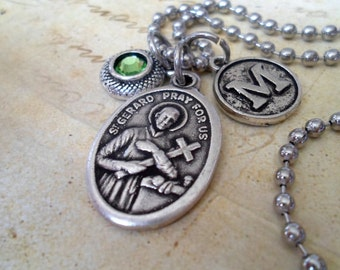 St. Gerard Patron Saint of Expectant Mothers, Holy help thru Pregnancy and Delivery. Personalize with Swarovski Crystal Birthstone & Initial
