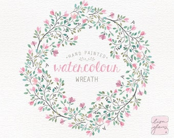 Watercolor wreath: hand painted floral wreath clipart / Wedding invitation clip art / branches / commercial use / Pink and teal CM0084c