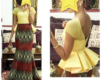 Maxi dress in African fabric/peplum and mermaid dress