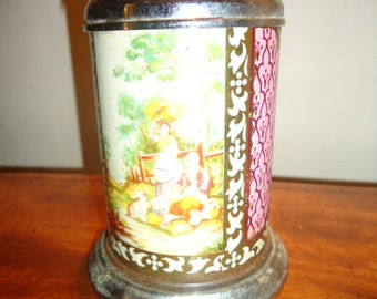 Pretty little antique printed lidded tin for tea or sweets