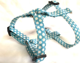 Dog harness-turquoise polka dot dog harness-adjustable harness-handmade harness-polka dot harness- turquoise harness-puppy harness