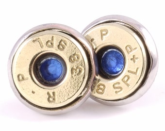 38 Special Bullet Earrings with Sapphire Glass Crystals. Bullet Jewelry. Gift for Her.