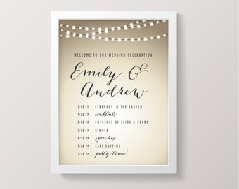PRINTABLE Wedding Welcome Sign with Order of Events - Rustic Fairy Lights Poster - String Lights Collection - Customized Just For You!