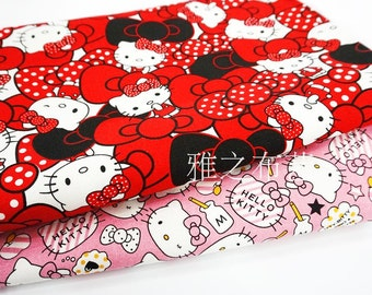 90x140cm/35x55Inch Pink & Red Hello Kitty Fabric Cute Japanese Cartoon Kitty Fabrics Thick Canvas Cloth  for Girls