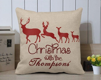 Custom Christmas Gifts,Personalized Family Name Christmas Pillow Cover,Reindeer Throw Pillow Case,Family Holiday Pillow,Xmas Home Decoration