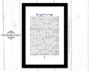 The Sound of Music - Movie/Musical - Quotes & Lyrics Typography - PRINT