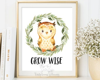 grow wise nursery wall quote children printable wall art boys nursery decor inspirational quote woodland nursery owl decor baby shower gift