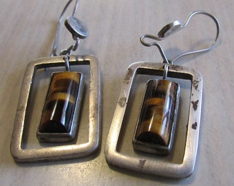 Sterling Silver and Tigers Eye Dangle Wire Earrings