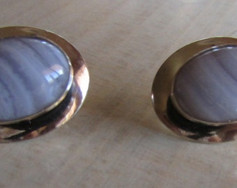 Sterling Silver and Banded Agate Earrings Post Style