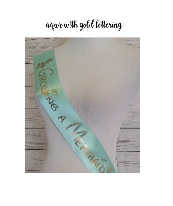 Growing A Mermaid Sash, Turquoise Purple Shower Sash For Mommy To Be To  Wear At Baby Shower Or Baby Sprinkle, Comes With A Rhinestone Pin