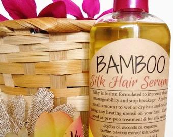 Bamboo Silk Hair Serum w/ Capacau butter, Jojoba oil, Bamboo extract *Frizz Control *Shine Booster *Silk Wrap *Light Weight *4oz Pump