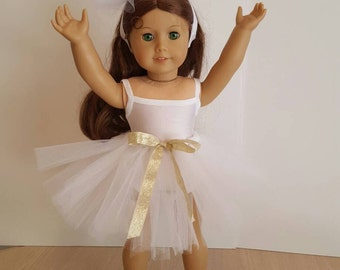 "White Tutu, Leotard And Pom Headband For American Girl Doll Or Any Other 18"" Soft-Bodied Doll."