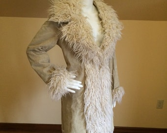 Vintage Suede leather Fur Trim coat