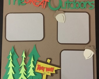 2 page-premade,pre cut scrapbook page layout die cuts The Great Outdoors kit