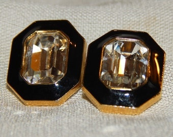 Last Chance - Vintage Trifari Earrings - Gold, Black, and Crystal, 1970s or 1980s