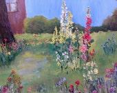 Hollyhocks, Flower Garden Painting, Landscape, Flower Painting