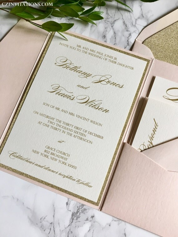 gold glitter wedding invitations blush and gold glitter pocket wedding invitations by 4534