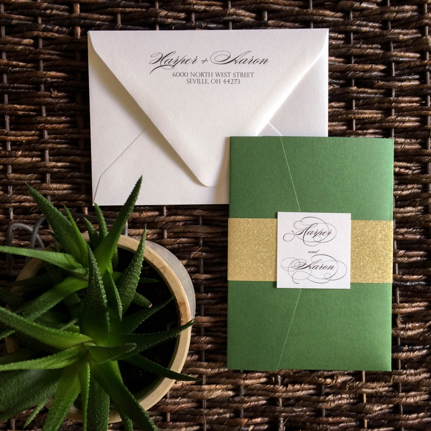 Green and Gold Glitter Pocket Wedding Invitation Glitter Pocket – Fall Pocket Wedding Invitations