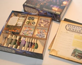 Eldritch Horror 3mm Birch ply Laser cut Game Box Organiser - quick and easy set up for a great game!