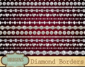 Diamond Borders Clipart - Rhinestone strands wedding clipart, valentine clip art, diamond bling sparkle png instant download commercial use