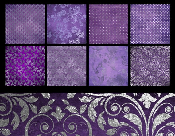 Purple And Silver Digital Paper Purple Textures Silver