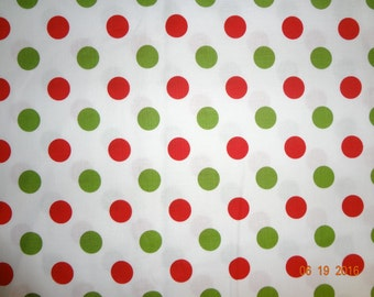 Large Red & Green Polka Dot Cotton Fabric - Riley Blake Dots #C490 By The Yard
