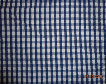"1 1/4 Yard Blue & White Check Cotton Seersucker Fabric - 45"" wide"