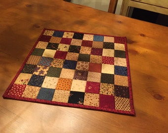 Quilted Table Topper / Primitive Table Topper / Country Quilt  Item #1310