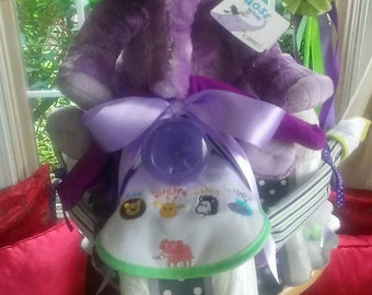 Horton the elephant tricycle diaper cake
