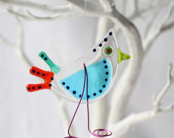 handmade fused glass gift | spring trend | spring birds | birthday gift | catchthebird