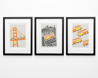 Set of 3 San Francisco Prints, Travel Art, World Cities, Famous Icons, Bridges and Architecture Art, Retro Style Print, City Wall Decor
