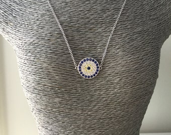 Sterling silver evil eye  protector charm necklace