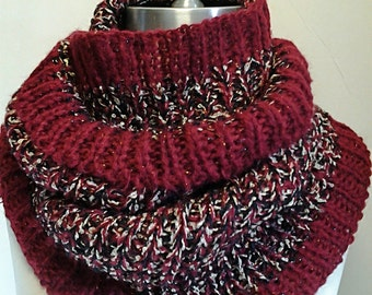 Burgandy, Beige and Black Chunky Infinity Scarf / knitted Infinity Scarf  / Gift for Her / Gift Ideas.