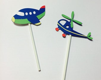 Airplane and Helicopter Cupcake Toppers