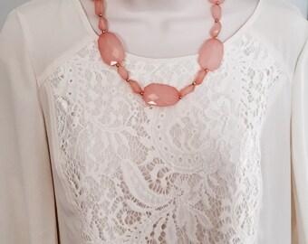 Pastel Pink Bubble Bib Beaded  Statement Necklace