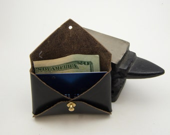 Black Leather Business Card Holder, Leather Card Wallet, Leather Coin Purse, Leather Card Pouch, Coin Pouch