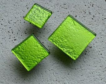 Apple Green Glass Cabinet Knob. Metalic Green Fused Glass Knob. Fresh Green Cabinet Handle. Furniture Hardware. Green Cabinet Knob 0016