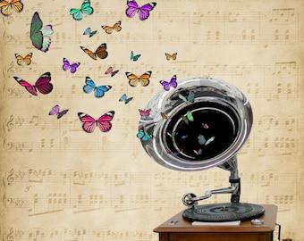digital art download vintage gramophone and butterflies 10x8 ratio
