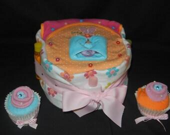 Boxed Diaper Cake Set - Orange and Pink