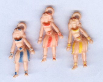 Vintage HULA GIRL soft-plastic rubber-like gumball vending Charms - Set of 3