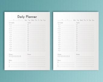 DAILY PLANNER   Planner Inserts Happy Planner Inserts Organizer To Do Daily Agenda Schedule Water checklist  PDF