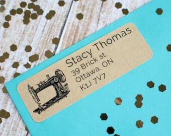 Vintage sewing machine return address sticker label custom brown kraft