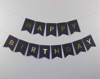 Happy Birthday Banner - Black with Gold Foil Letters